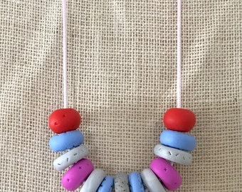 Blue, grey and pink handmade polymer clay vegan necklace on 70cm polyester cord with breakaway clasp