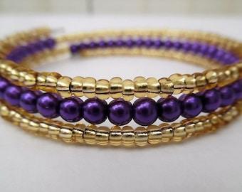 Purple and Gold Bracelet, Bangle Style Bracelet, Summer Bracelet, Purple Wrap Bracelet, One Size Fits All, Beaded Bracelet Gift For Her