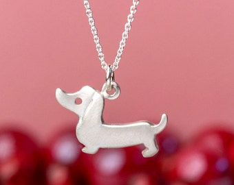 Dachshund Necklace Dog Necklace Weenie Dog Pendant sterling silver Jewelry sausage dog necklace pet necklace Birthday gift