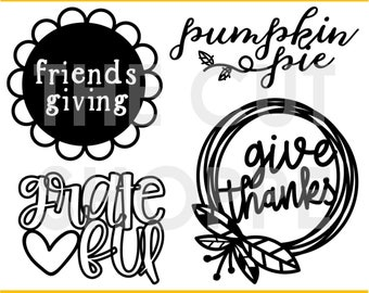 The Thanks & Giving cut file includes 4 Thanksgiving themed images, that can be used for your scrapbooking and papercrafting projects.