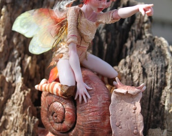 Snail Fairy -Come On Lucky Number 5!- Ooak Polymer Clay Sculpture