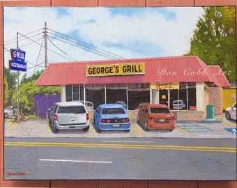 "Original Painting ""George's Grill"" Shreveport Restaurant Art 18x24x1.5"" Acrylic On Gallery Wrap Canvas"