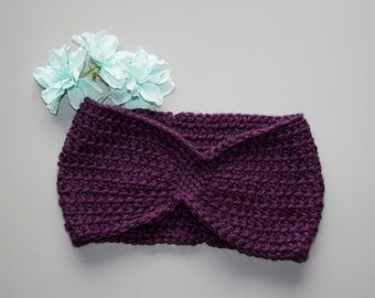 Pinched Earwarmer Headband - Burgundy - Adult