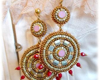 Embroidered earrings, antique style, Greek goddess.