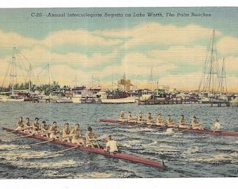 Vintage Florida Linen Postcard Annual Intercollegiate Regatta on Lake Worth The Palm Beaches Beach UNUSED