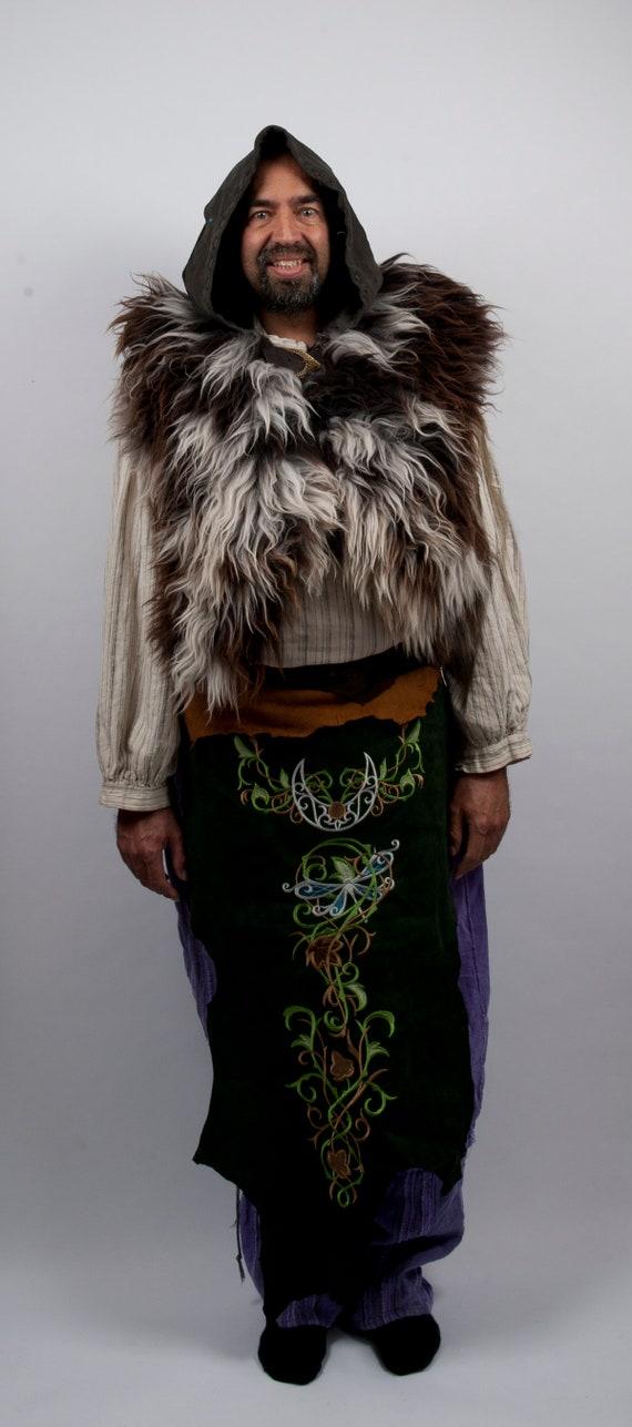 shaman forest battleskirt fair costume Green wood court sca ranger elf druid leather embroidery dragonfly fantasy elven women larp armor men CwxHAqw57