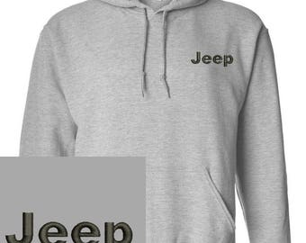 jeep Embroidered gray Hoodie Pullover Hooded Sweatshirt New