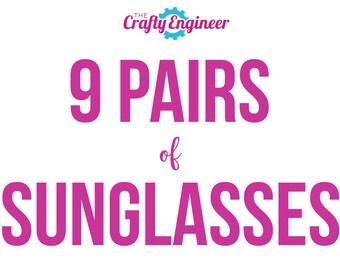 9 PAIRS -- Personalized Sunglasses, Custom Sunglasses, Bachelorette Sunglasses, Wedding Sunglasses, Bachelorette Gift, Wayfarer Sunglasses