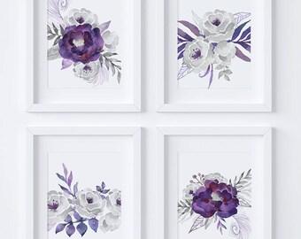 Set of 4 Printables, Gray Wall Art, Purple Wall Art, Silver Florals, Gray Florals, Purple Flowers, Purple Floral, Purple Wall Decor, FS01