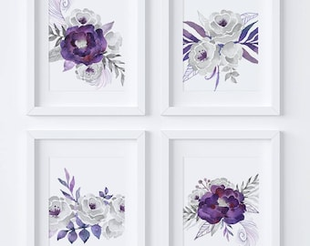 Awesome Set Of 4 Printables, Gray Wall Art, Purple Wall Art, Silver Florals, Gray  Florals, Purple Flowers, Purple Floral, Purple Wall Decor, FS01