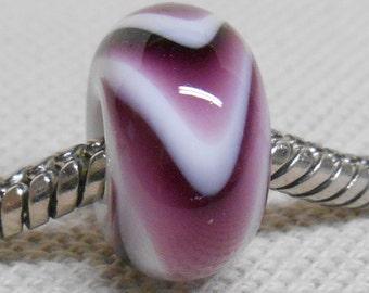 Handmade Glass Lampwork Bead Large Hole European Charm Bead White with Dark Purple Swirl