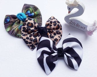 "Animal Print Hair Bow, Ribbon Hair bow, Animals, Summer Bows, Themed Hair Bow, Girls hair bow,  3"" bow,  Gift for girls, Handmade"