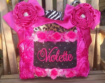 Fuschia Hot Pink Diaper Bag Zebra Leopard Fur origami Roses with single strap 3 Pockets Bling Personalized Custom made Batting High Quality