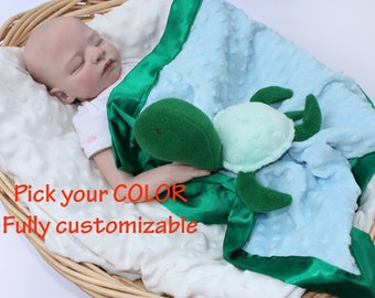 Sea turtle baby blanket baby Security Blanket baby blanket Lovey Blanket Satin Baby Blanket Baby tutle Toy Customize Color Monogramming