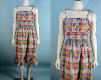 Vintage 60s Plaid Preppy Spaghetti Strap Sun Dress, Ruffle Smocked Kawaii Surfer Girl Beach Dress S