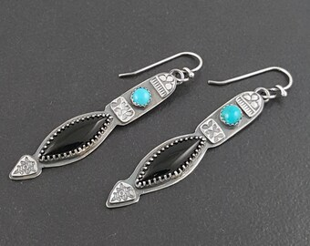 Turquoise and Black Onyx Earrings, sterling silver, turquoise earrings, dangle earrings, michele grady, stamped, Blue silver black, handmade