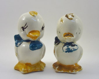 Vintage Duck Salt and Pepper Shakers - Retro Bird Yellow and Blue