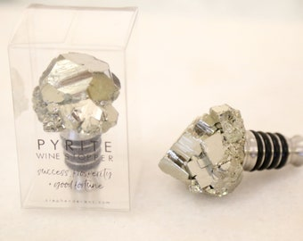 Pyrite Wine Stopper--Gold Wine Stopper--Pyrite Bottle Stopper--Gold Geode Bottle Stopper