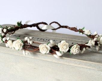 Ivory Rose Flower Crown, Ivory Floral Crown, Flower Girl Flower Crown, Bridesmaid Garland, Wedding floral crown, bridal headwear