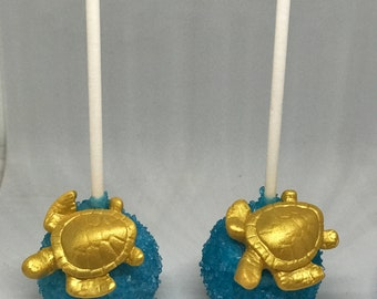 Blue and Gold Turtle Cake Pops