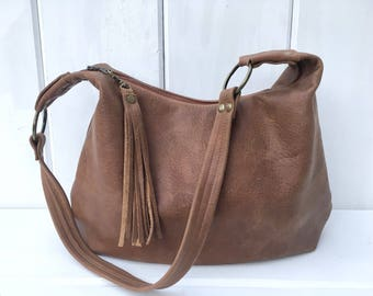 Brown rustic soft leather hobo bag, smaller size, choose your lining, zipper closure, handmade, soft genuine leather, gift, maine made