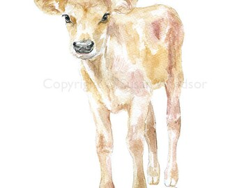 Jersey Calf Watercolor Painting 4x6 Fine Art Giclee Reproduction - Nursery Art - Farm Animals - Baby Cow