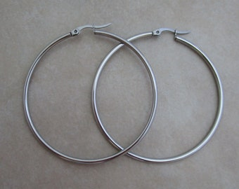large stainless steel earring hoops 2 pairs 2 inch