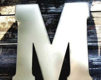 "Custom finished colors, Galvanized Metal Letter, Large 20"" letter, vintage salvage industrial metal, monogram wall nursery decor distressed"