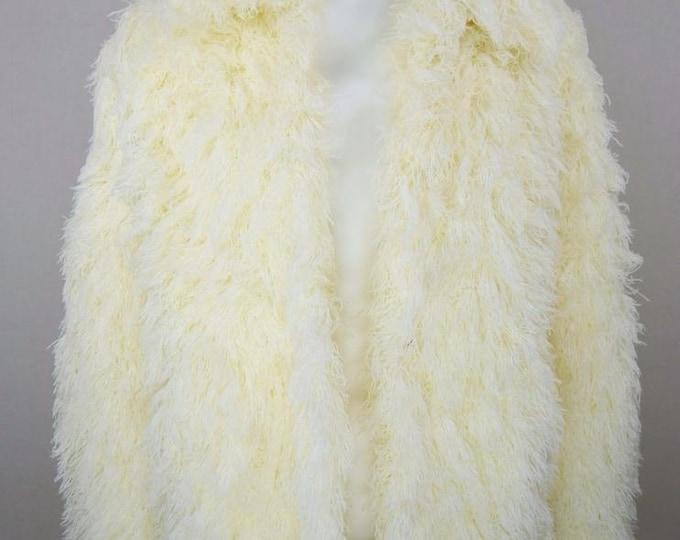 Vintage 1970's ARISSA Shaggy Chubby String Faux Fur Mongolian Hippie Rockstar Boho Coat Size M / L