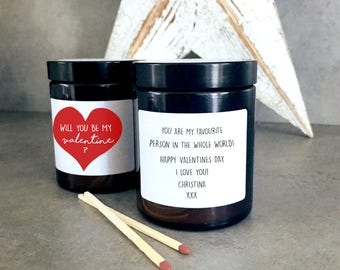 Will You Be My Valentine Scented Jar Candle Natural Soy Wax Candles Vegan Gift Personalised Heart Natural Candles Galentine For Him Her