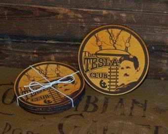 "Four Leather ""Tesla Club"" Coasters"