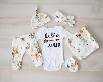 Baby Girl Coming Home Outfit, baby shower: Earth Tone Watercolor Floral Pants, Tie Headband, Knot Hat, Hello, World Bodysuit, Swaddle, Mitts