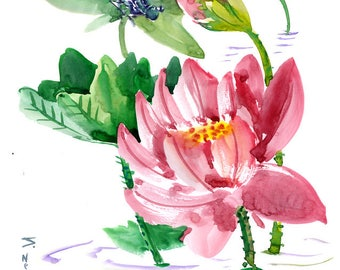 Chinese Brush Painting,Wall Art Dragonfly  and Lotus Flowers feng shui original art by suren