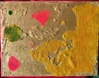 Glitter Painting Modern Splotches 7x9 OOAK original mixed media acrylic art painting yellow pink green metallic // gifts for her
