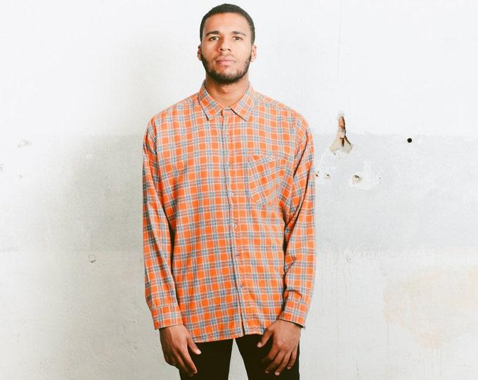 Plaid Flannel Shirt . Men's Vintage Everyday Shirt Long Sleeve 1990s Hipster Boyfriend Shirt Unisex 90s Retro Clothing . size Medium