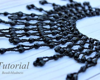 PDF tutorial Necklace Crystal Raindrops seed beads