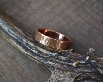 Textured copper ring band, copper ring band, hammered copper ring band, chunky copper ring band, women copper ring band, copper wedding band
