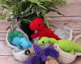 Baby Dinosaurs - Hatching Dino Eggs - Dinosaur Amigurumi -Easter - Dino in Egg - Stegosaurus - Dinosaurs - T-Rex - Crochet Dinosaur Eggs -