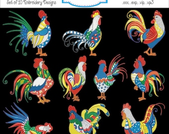 Fancy Curly Chicken Rooster Machine Embroidery Designs - Set of 10 Instant Download Sale