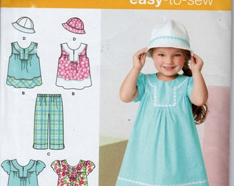 Girls Summer Dress Girls Bucket Hat Pattern SIMPLICITY 2269 UNCUT size 3 - 8 Girls Hat Pattern Girls Crop pants Girls Summer Top Pattern