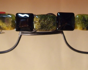 Yellow and Black Beaded Barrette