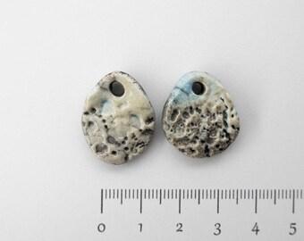 Drop bead, raku, Bohemian ceramic blue white x 2