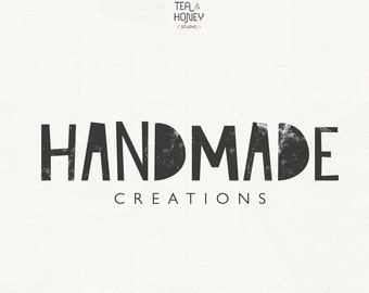 Modern Logo Rustic Small Business Design Creative Branding Handmade Unique Typography