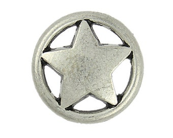 Metal Buttons - Ring and Star Matte Silver Metal Shank Buttons - 23mm - 7/8 inch - 6 pcs