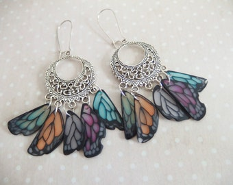 Earrings creole print Wings Butterfly Rainbow spirit jewelry Native American version 6