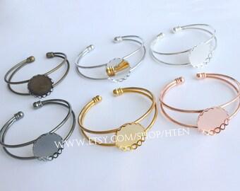 5pcs 20mm/25mm Adjustable Brass Bracelet Setting Base,Bracelet Supply, Blanks Bracelet Cuff,Bezel Bracelet Bangle,25mm Bezel Cuff