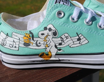 Hand Painted Snoopy and Joe Cool Musical  Converse shoes-included-- sorry sold