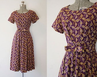 1940's Purple Crepe Rayon Swing Dress / Size Medium