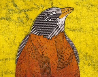 Bird Art Print, American Robin, Red Robin, Original Collograph Print, bright yellow - King of Spring 9