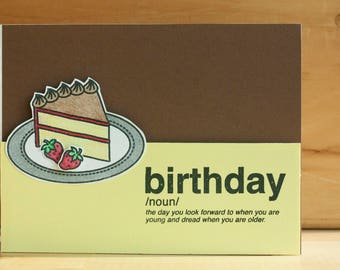 stamped, handmade greeting card: birthday by definition card